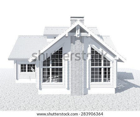 3D white architecture model house  isolated on white - stock photo