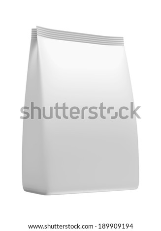 3D White bag package on a white background, isolated - stock photo