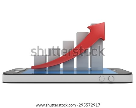 3d white bar graph with red arrow growing up on smartphone. Mobile apps concept. 3D render isolated on white background