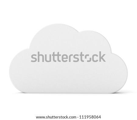 3d white blank board - cloud shape - stock photo