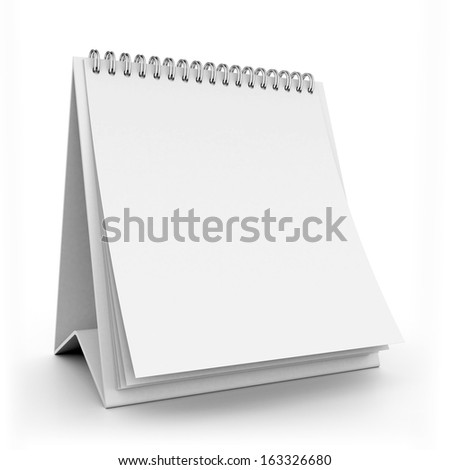 3d white blank calendar - stock photo