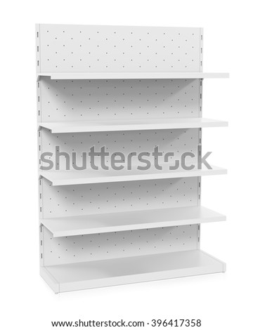 3D white blank empty showcase displays with retail shelves products on white background isolated.  - stock photo