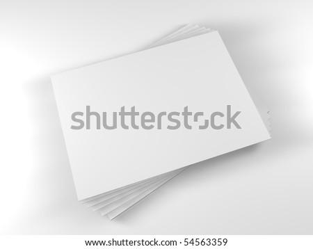 3D white blank paper sheet - stock photo