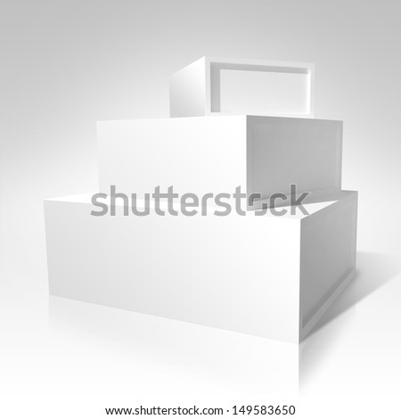 3d white boxes put in pyramid, space for text
