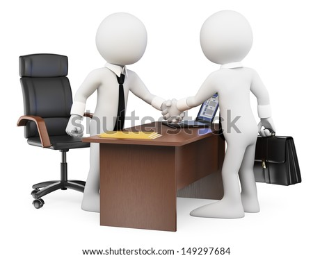 3d white business people. Businessmen closing a deal in the office. Isolated white background.