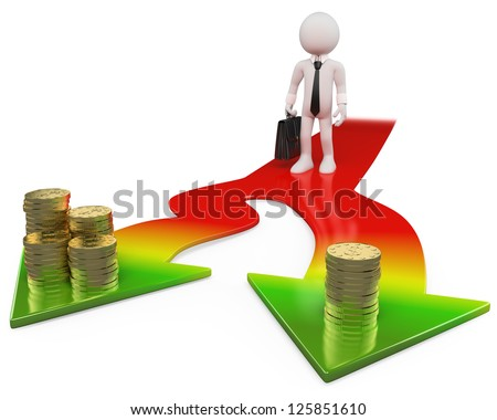 3d white business person choosing the easy or the difficult way. 3d image. Isolated white background. - stock photo