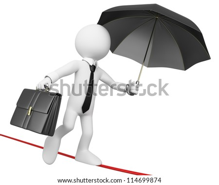 3d white business person doing balance with a briefcase and a umbrella. 3d image. Isolated white background. - stock photo
