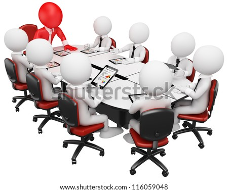 3d white business person in a meeting with tablet computer. 3d image. Isolated white background. - stock photo