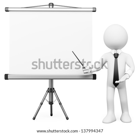 3d white business person showing a projection screen. Isolated white background.