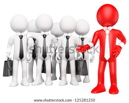 3d white business person showing his business work team. 3d image. Isolated white background. - stock photo