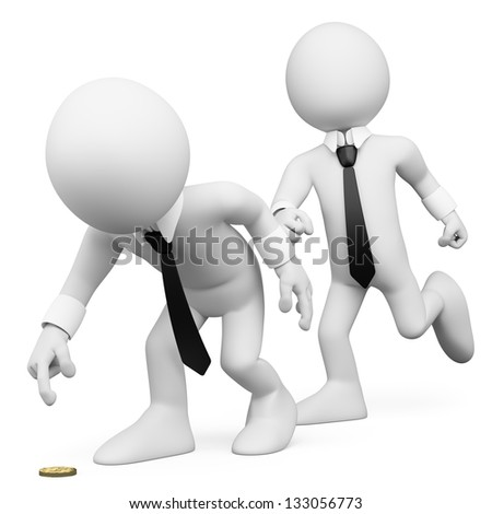 3d white business person tricking a workmate. 3d image. Isolated white background.
