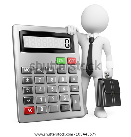 3d white business person with a calculator and a briefcase. 3d image. Isolated white background.
