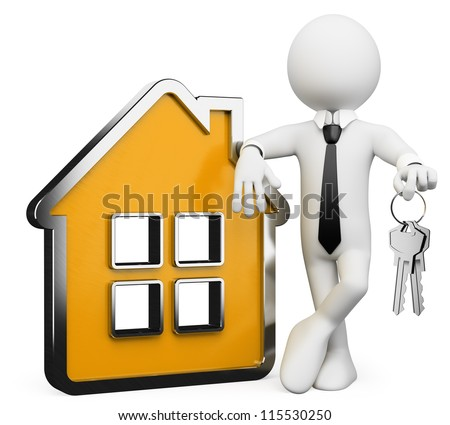 3d white business person with a conceptual house and a bunch of keys. 3d image. Isolated white background. - stock photo