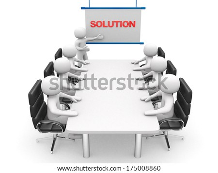 3d white business persons at a workshop. Presentation. 3d render illustration - stock photo