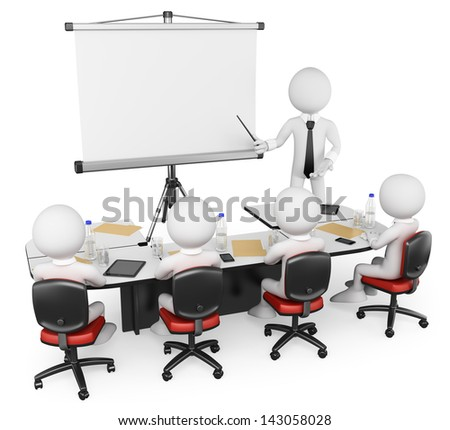 3d white business persons at a workshop. Presentation. Isolated white background. - stock photo