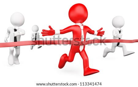 3d white business persons reaching the goal in a race . 3d image. Isolated white background.