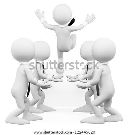 3d white business work team helping a coworker. 3d image. Isolated white background. - stock photo