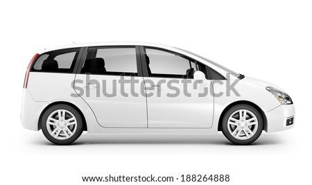 3D White Car - stock photo