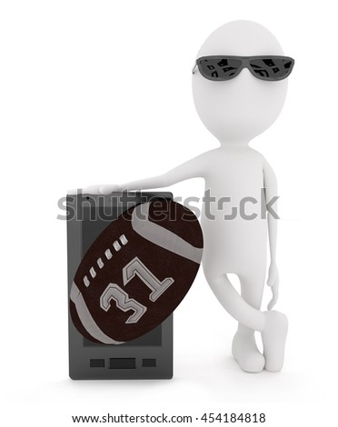 3d white character standing near to a mobile phone and american football concept in white isolated background