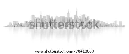 3D white city isolated on mirror background - stock photo