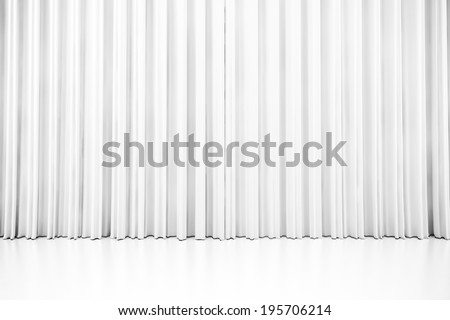 3d white clean curtain, on white - stock photo