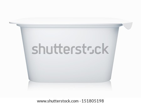 3D White color Package Plastic container for yogurt, isolated