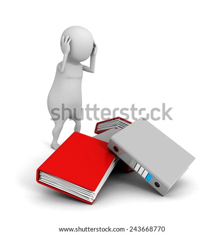 3d white confused person with a lot of file ring binders. 3d render illustration - stock photo