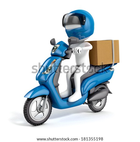 3d white courier delivering a package on a blue scooter isolated