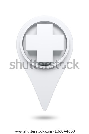 3D White cross Icon website design element. isolated - stock photo