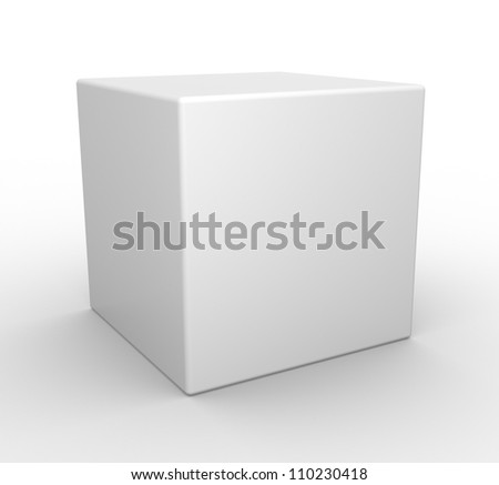 3d white cube. - stock photo