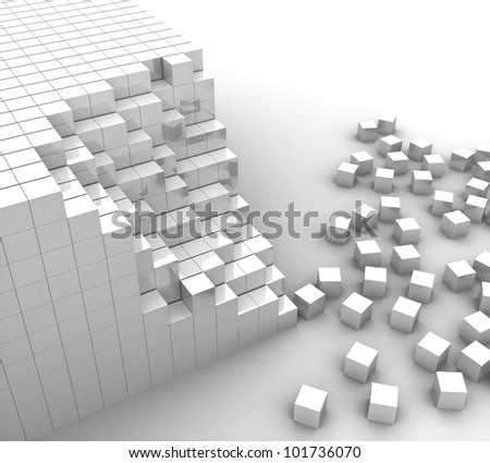 3d white cubes lined up and scattered on a white background - stock photo