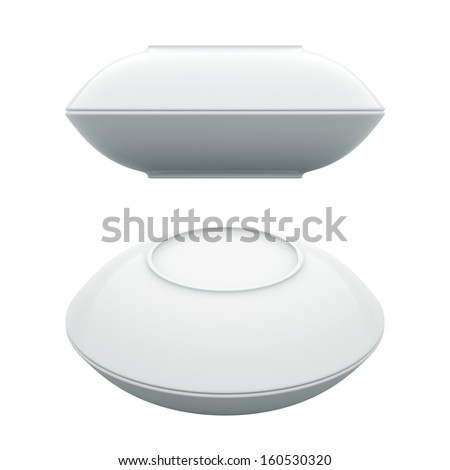 3D White Dish realistic couple of upside down, Isolated - stock photo