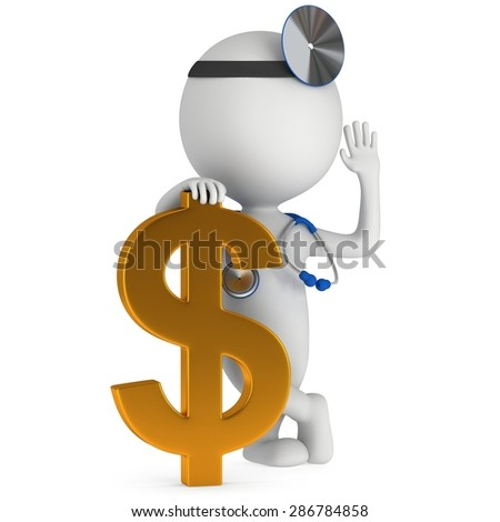 3d white doctor stand with golden dollar sign. Thumbs up. Render isolated on white.  Medical insurance concept. - stock photo