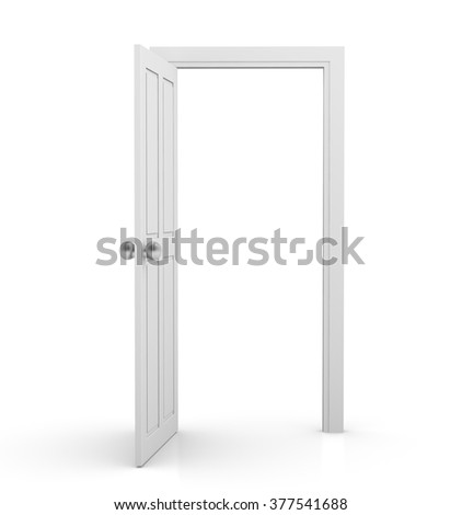 3d white door on white background