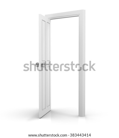 3d white door open on white background