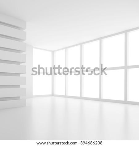 3d White Empty Room. Modern Interior Background - stock photo