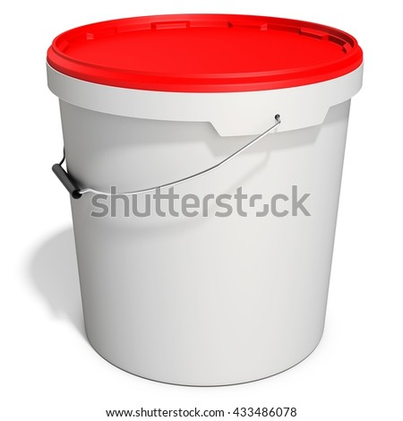 3d white food plastic tub bucket container with lid cap,  product packing on white background 3D illustration - stock photo