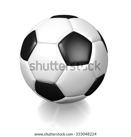 3D white football soccer ball with black color spots, isolated on white background.