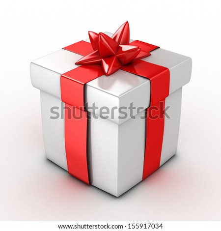 3d White Gift Box isolated