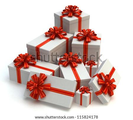 3D White Gift christmas boxes isolated on white - stock photo