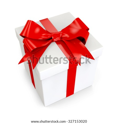 3d white gift with red ribbon isolated on white background