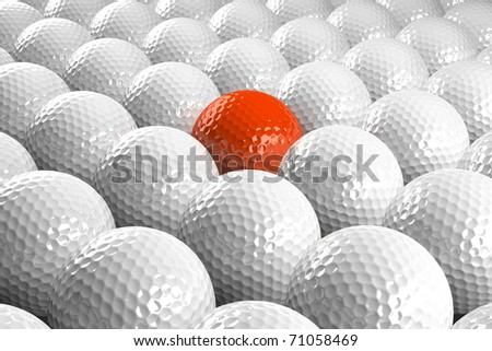 3d White Golf balls & one orange in the middle - stock photo