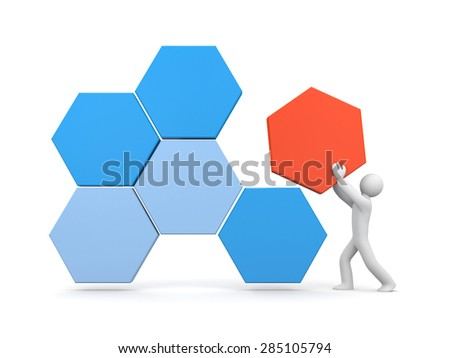 3d white human builds an abstract structure of hexagons - stock photo