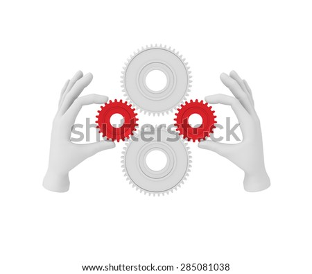 3d white human hand holds gear (cog). 3D illustration . White background. - stock photo