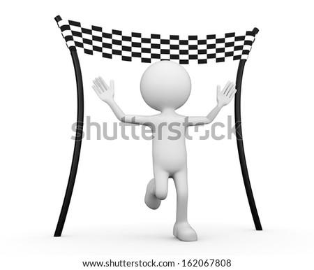 3d white human - reaching the finishing line - stock photo