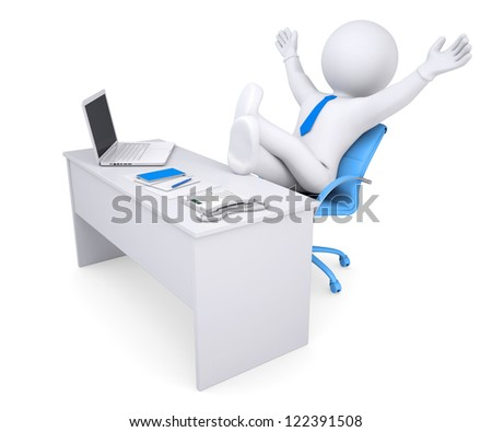 3d white human sitting at the table happily raised his hands up. Isolated render on a white background - stock photo