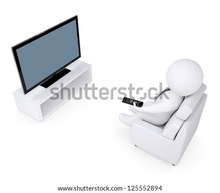 3d white human sitting in a chair and watching TV. Isolated render on a white background