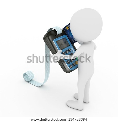 3d white human with blue pos terminal - isolated - stock photo
