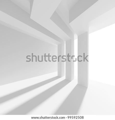 3d White Interior Background - stock photo