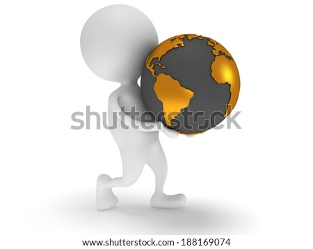 3d white man carry earth planet globe. - stock photo